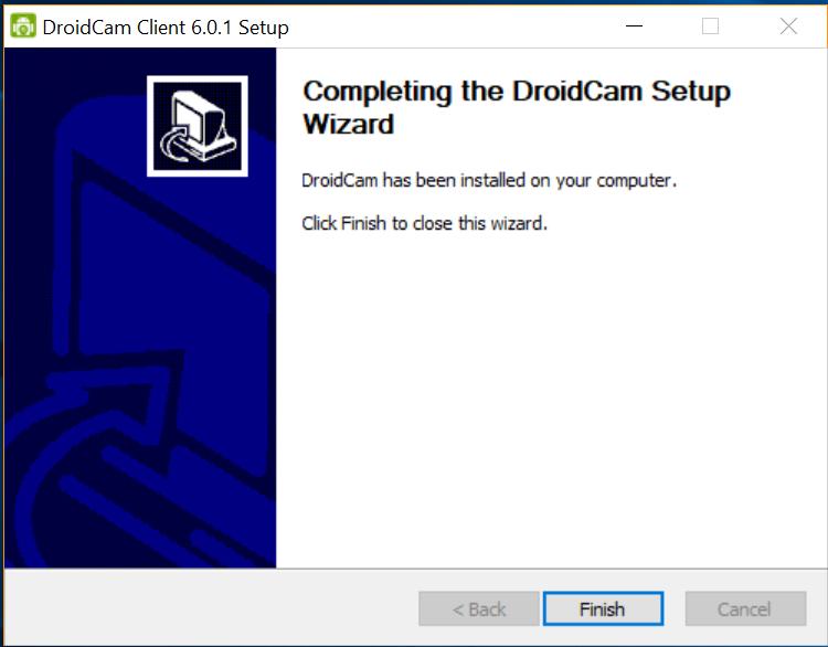 Droidcam PC Installation complete