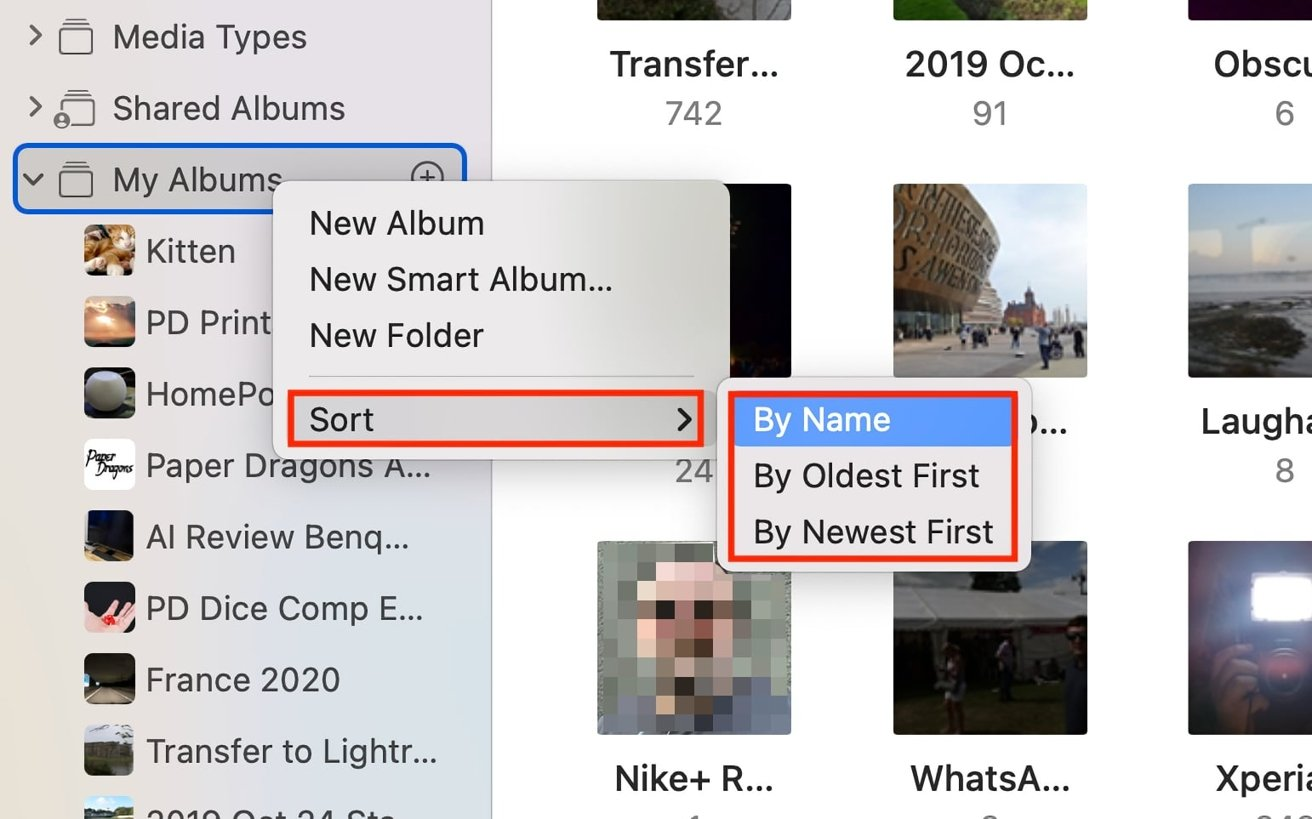 Folders containing albums will appear in the sidebar, and can be collapsed like any other.